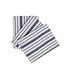 Home Collection - Set of three white and navy striped tea towels