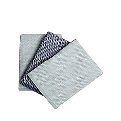Home Collection - Set of three light green and navy textured tea towels