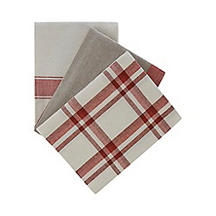 Home Collection - 3 pack multicoloured plain and checked tea towels