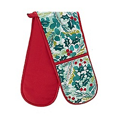 Home Collection - Green and red holly print double oven glove