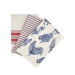 Home Collection - Set of three multicoloured chicken print tea towels