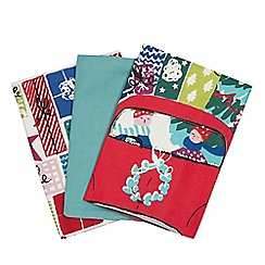 Home Collection - 3 pack multicoloured festive print tea towels