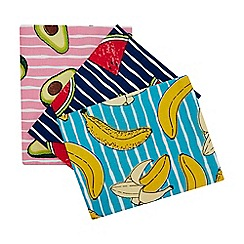 Home Collection - 3 Pack Multicoloured Fruit Print Tea Towels