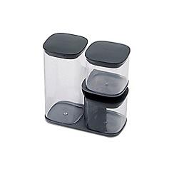 Joseph Joseph - Grey 'Podium' 3 piece storage jar set with stand