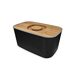 Joseph Joseph - Black bread bin with bamboo cutting board lid