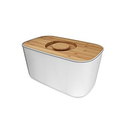 Joseph Joseph - Steel Bread Bin with bamboo cutting board lid in White