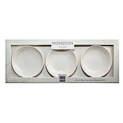 Denby - Pack of 3 white 'Monsoon Lucille Gold' dipping bowls