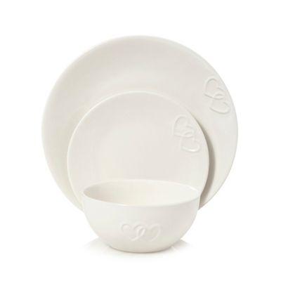 sc 1 st  Debenhams & Home Collection White heart embossed 12 piece dinnerware set | Debenhams