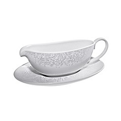 Denby - Cream 'Monsoon Filigree' sauce jug and stand