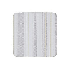 Denby - Pack of 6 cork backed cream stripe coasters