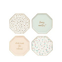 Home Collection - Set of four multi-coloured  party plates