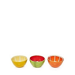 At home with Ashley Thomas - Set of three multi-coloured fruit nibble bowls