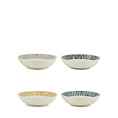 Home Collection - Set of four assorted retro-inspired print pasta bowls