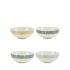 Debenhams - Set of four assorted retro-inspired print cereal bowls