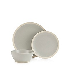 Home Collection - 12 piece grey raw edge dinner set