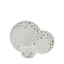 Home Collection - 12 piece snowflake porcelain dinner set