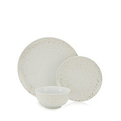 Home Collection - 12 piece spotted porcelain dinner set