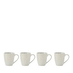 Home Collection - Set of 4 white metallic sparkle mugs