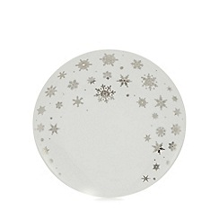 Home Collection - White snowflake print porcelain side plate