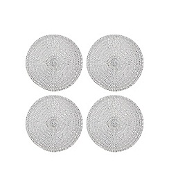 Home Collection - Set of four silver metallic woven coasters