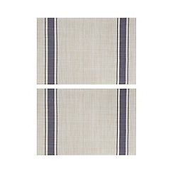Home Collection - Set of two navy striped print placemats