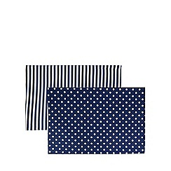 Home Collection - Set of two reversible navy spotted placemats