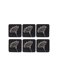 Home Collection - Set of six brown floral print coasters