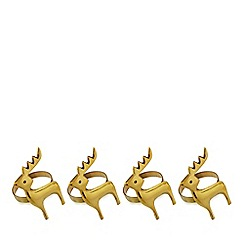 Home Collection - Set of four gold reindeer napkin rings