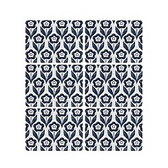 Home Collection Basics - Pack of six navy floral print placemats