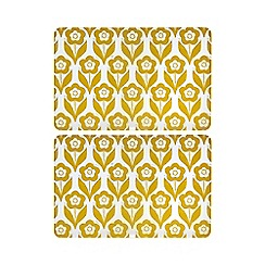 Home Collection Basics - Set of two yellow floral print placemats