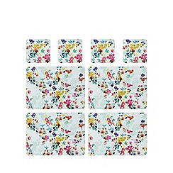 Creative Tops - Pack of eight multi-coloured floral print placemat and coaster set