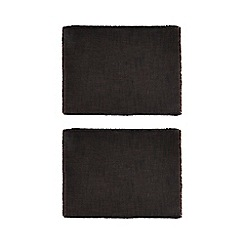 Home Collection - 2 pack dark grey frayed trim placemats