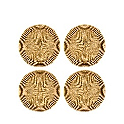Debenhams - 4 pack gold beaded coasters