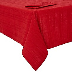 Debenhams - Red embroidered tablecloth and napkin set
