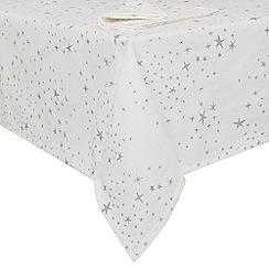 Debenhams - Silver star print table cloth and napkin set