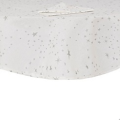 Debenhams - Silver star print round table cloth and napkin set