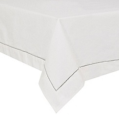Debenhams - White overlock stitch rectangular tablecloth