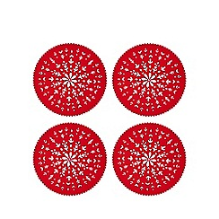 Home Collection - 4 pack red felt cut out snowflake placemats