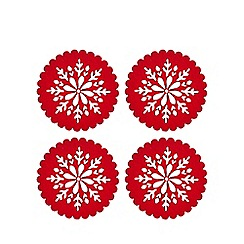 Home Collection - 4 pack red felt cut out snowflake coasters