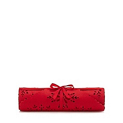 Home Collection - Red felt cut out snowflake table runner