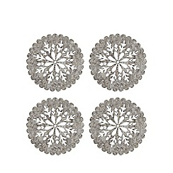 Home Collection - 4 pack grey felt cut out snowflake coasters