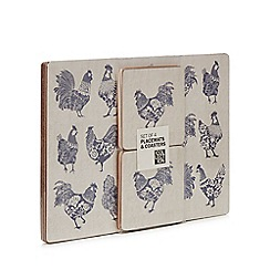 Debenhams - 4 pack blue 'Country Kitchen' chicken print placemats and coasters