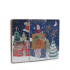 Debenhams - 4 pack multicoloured Santa print Christmas placemats and coasters