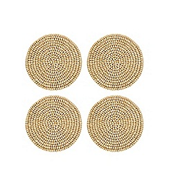 Home Collection - Pack of 4 beige wooden beaded coasters