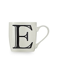 Home Collection - White 'E' letter mug