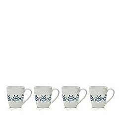 Home Collection - Set of four white porcelain leaf mugs