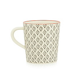 Debenhams - Grey and cream 'Stockholm' drop print mug