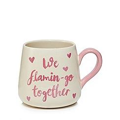 Home Collection - Cream and pink flamingo mug