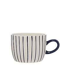 Debenhams - White and navy striped mug