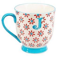 Sass & Belle - Multi-coloured 'Bohemian' letter J mug